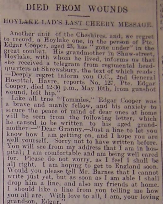"""""""Deeside Advertiser"""" 19th May 1916"""