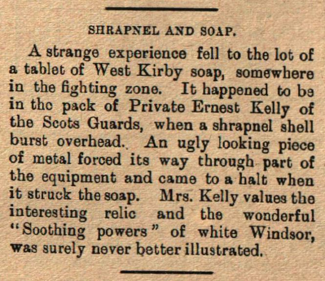 31 1915 Jul 3 Ernest Kelly shrapnel soap.jpg